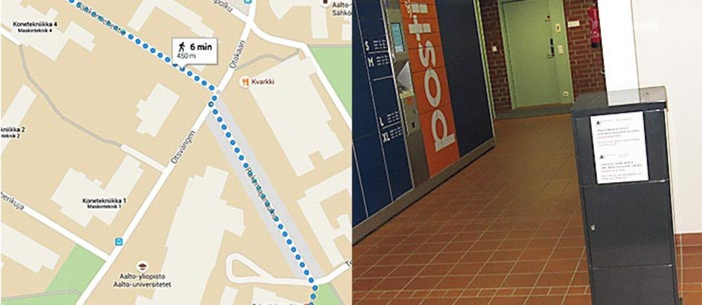 Map from Learning Center beta to Maarintalo and a picture of the drop box