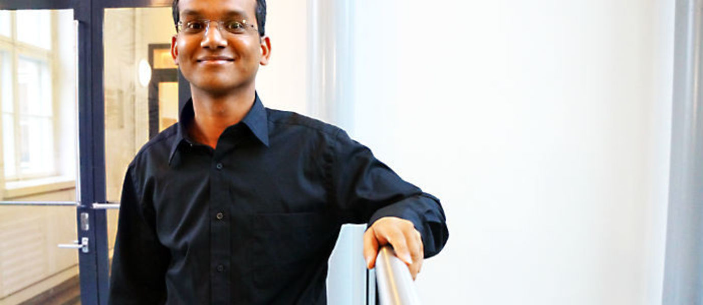 Assistant Professor Ashish Kumar photographed at the Aalto University School of Business in November.