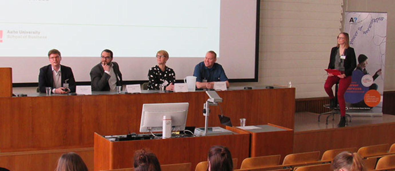 Panellists included School of Business alumni and the panel was moderated by the master's degree student Anna Kerava.
