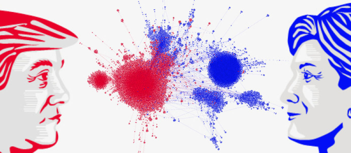 Endorsement network of US Elections: each dot indicates a Twitter user and a line between two dots indicates that one user retweeted the other. The two sides, red - republicans and blue - democrats do not endorse each other, while endorsing their own sides heavily. Picture: Kiran Garimella / Aalto University.