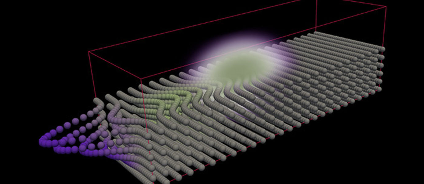 The optical force on atoms forms a mass density wave that propagates with light through the crystal. Image Jyrki Hokkanen, CSC.