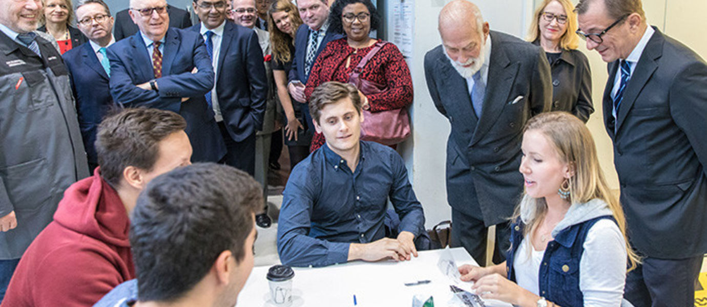 Aalto students told Prince Michael about their groupwork at the Design Factory.