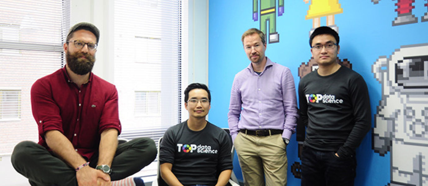 Oguzhan Gencoglu, Head of Data Science (on the left), Hung Ta, CTO, Timo Heikkinen, CEO, and Quan Nguyen Minh, Data Scientist