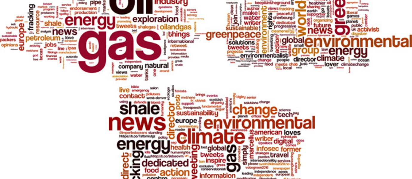 Fracking has two circles of users talking among themselves, strengthening their conflicting campaigns. The third word cloud represents the words used by the selected influential users. Picture: Kiran Garimella.