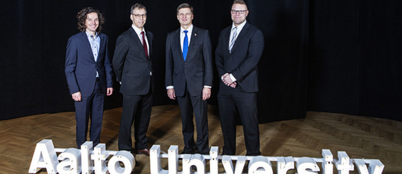 From left: Professor Günther H. Filz, Professor Otto Toivanen, President Ilkka Niemelä and Professor Tomi Laurila. Photo: Lasse Lecklin
