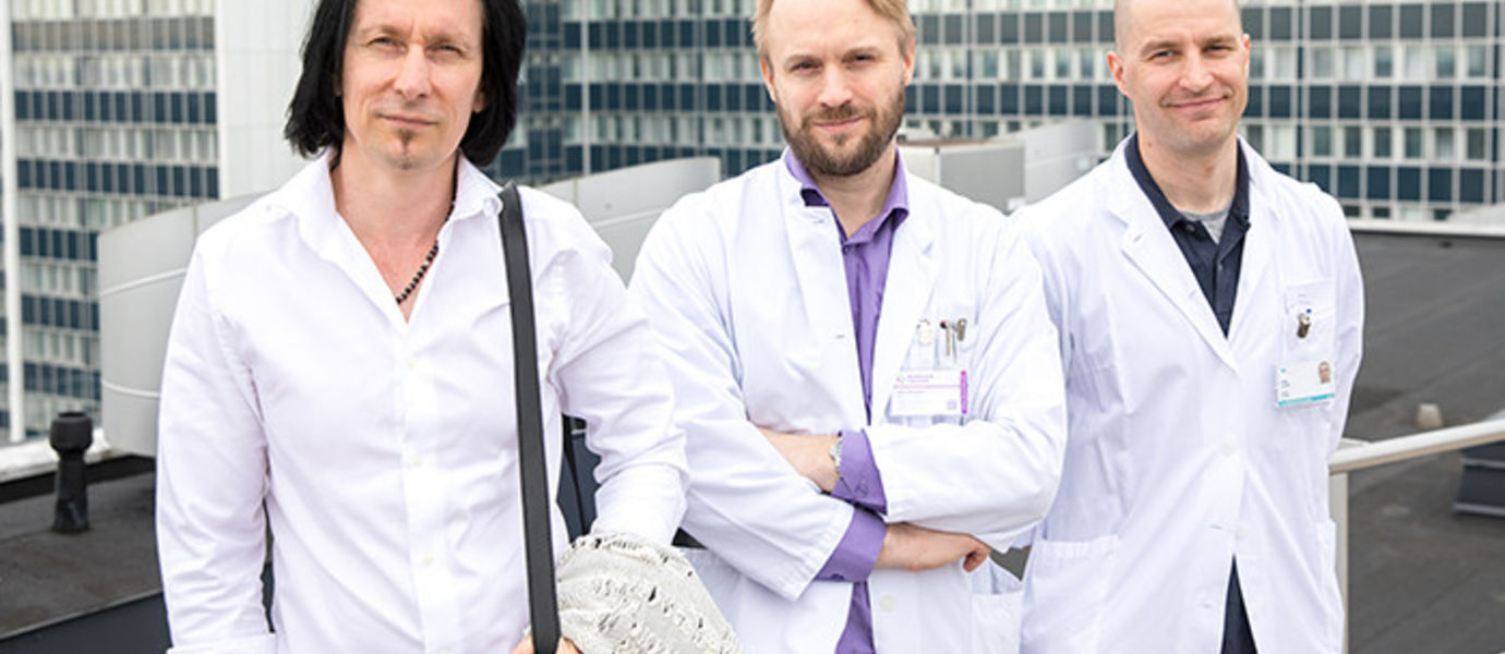 Biodesign Finland 2017 Team: Jari Rantala (l.), Kalle Kotilahti (m.), Sami Elamo (r.) and Tommi Pätilä (not pictured).