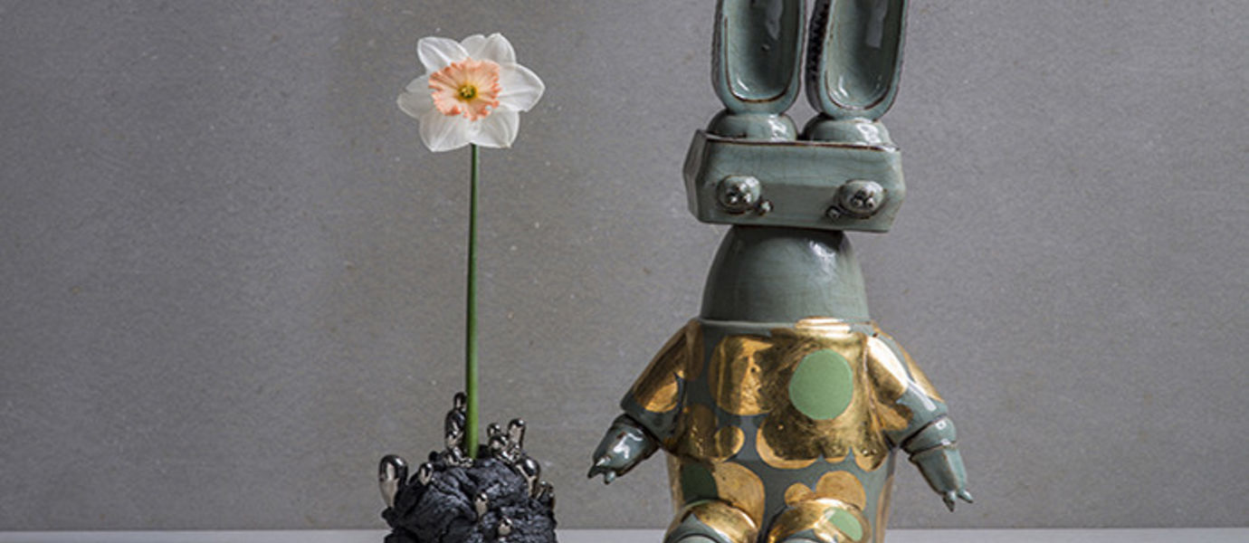 Matias Liimatainen: Alchemy and Floral Rabbit. Hand built stoneware, platinum and gold