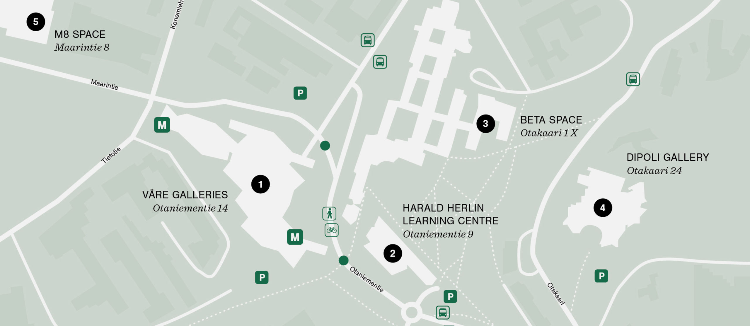 Map of Aalto Exhibition Spaces