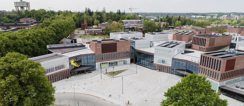 Aerial photo of Väre and A Bloc buildings / Photo by Aalto University, Mikko Raskinen
