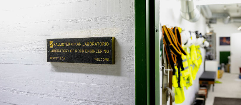 Entrance to the rock engineering laboratory.
