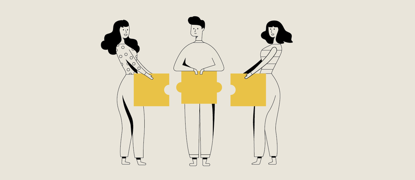Illustration on beige background of three people holding big puzzle pieces.