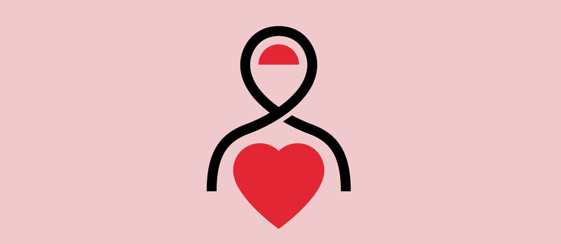 Pictogram - A person with red half circle on their head and a read heart in their chest