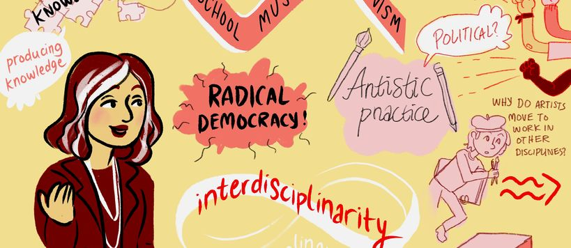U-Create teaching symposium's live illustration about producing collective knowledge by Apila Pepita Miettinen