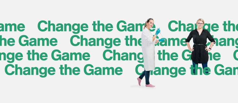 "Image with green text, ""change the game"""