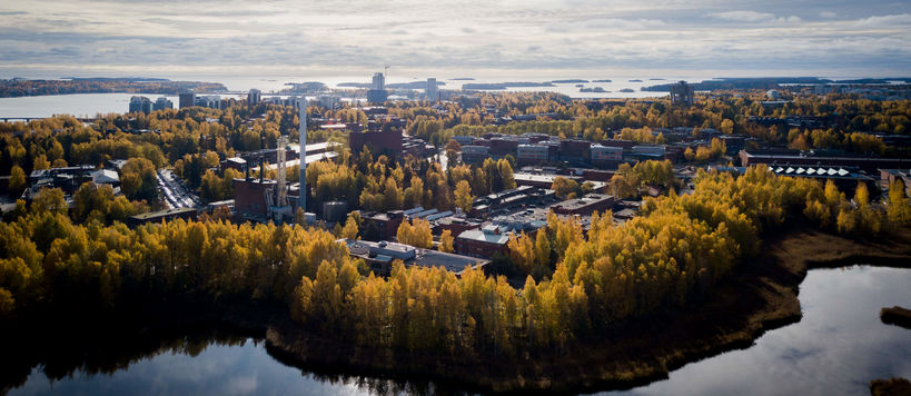 Aerial of Otaniemi in autumn