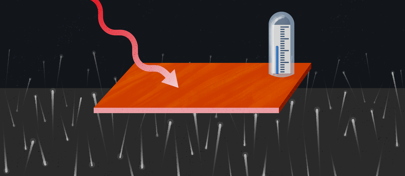 An illustration showing a nano-strip of copper being bombarded by photons, with a thermometer measuring its heat