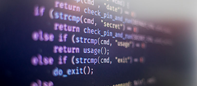 Piece of code on the computer screen, colourful text