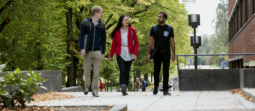 Three students walking on campus on sunny day
