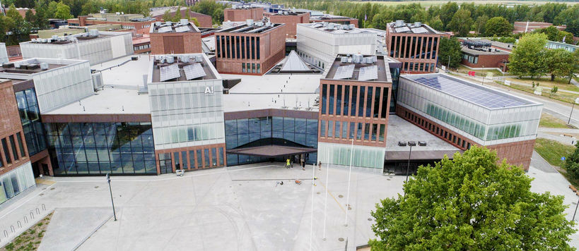 Aerial image of Aalto University Väre building during summer time