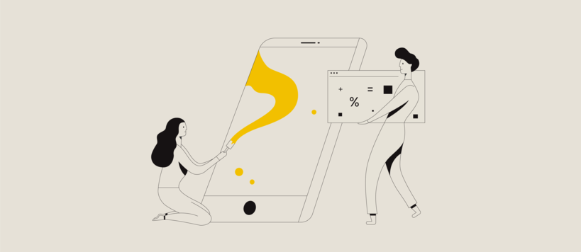 Illustration of a woman painting a big smartphone and of a man carrying a big calculator