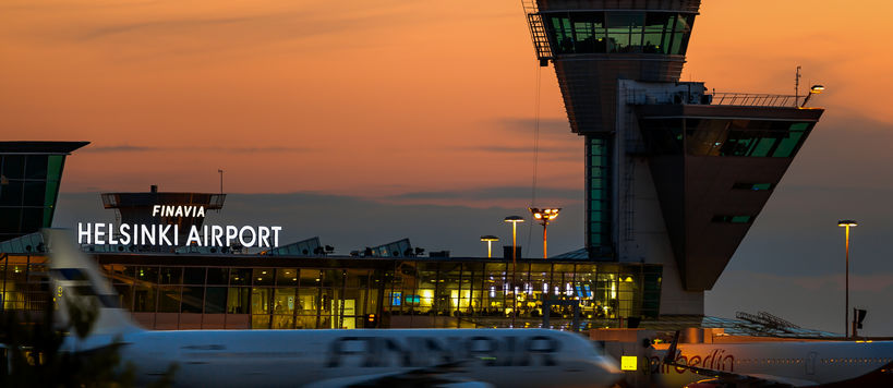 Helsinki Airport and the traffic control tower at night. Photo: Finavia Image bank