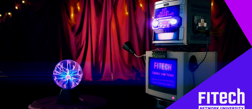 A FITech robot next to a crystal ball in a mystërious environment.