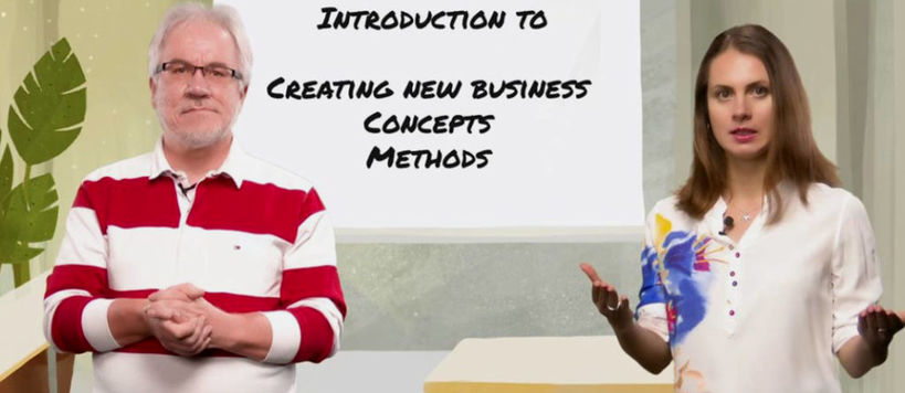 "Håkan Mitts and Lidia Borisova portraits in a screenshot of a lecture called ""Introduction to creating new business concepts and methods"""