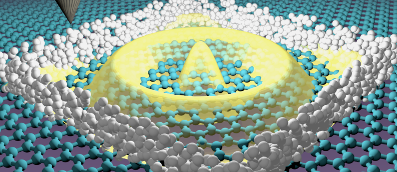 Scanning tunneling microscope tip confining electrons in graphene