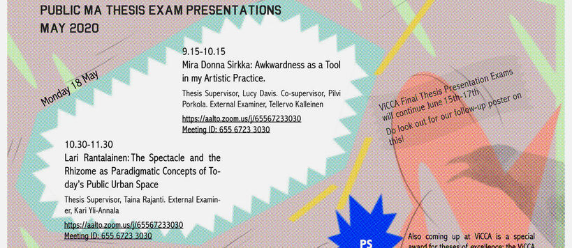 ViCCA's Public MA thesis exam presentations on Monday 18.5.2020