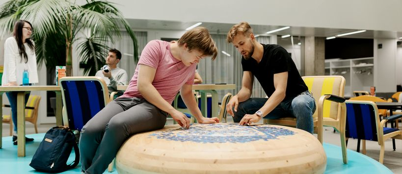 Students doing a puzzle