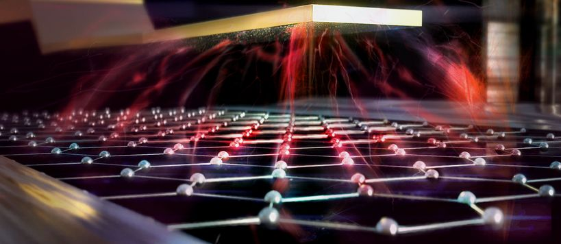 Artistic image of a graphene bolometer controlled by electric field. Credit: Heikka Valja.