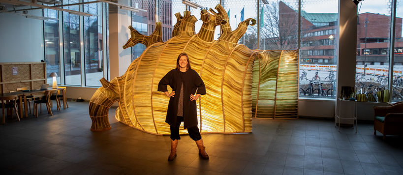 Julia Lohmann's Hidaka Ohmu seaweed pavilion at the A Bloc shopping centre. Photo: Mikko Raskinen