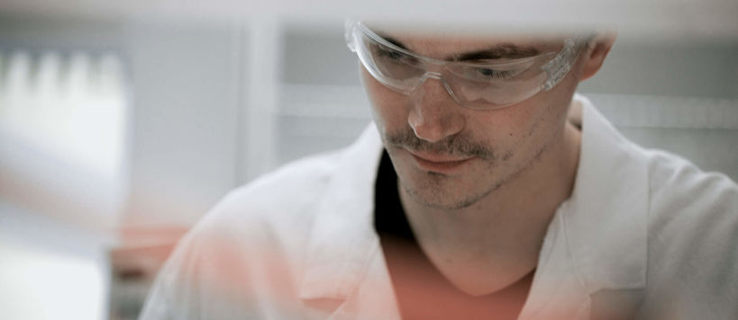 Close up picture of a male researcher