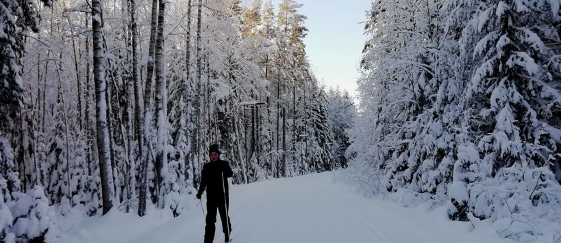 Student James Roney cross-country skiing