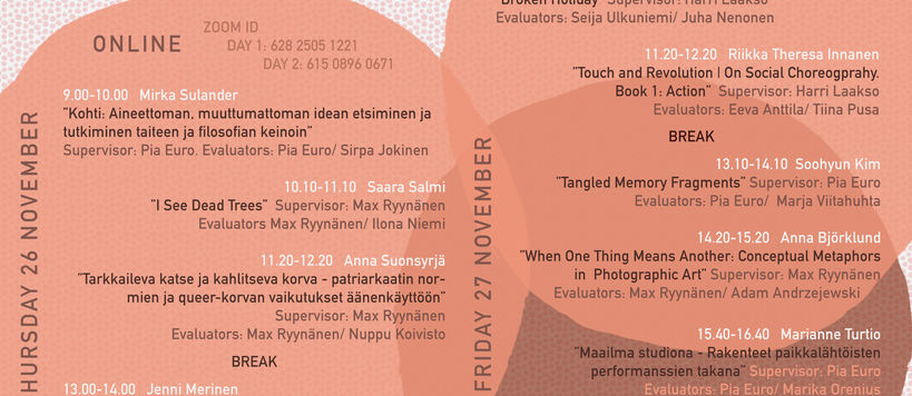 Orange and brown circles from the background of this poster with the names and topics of the upcoming MA ViCCA presentees