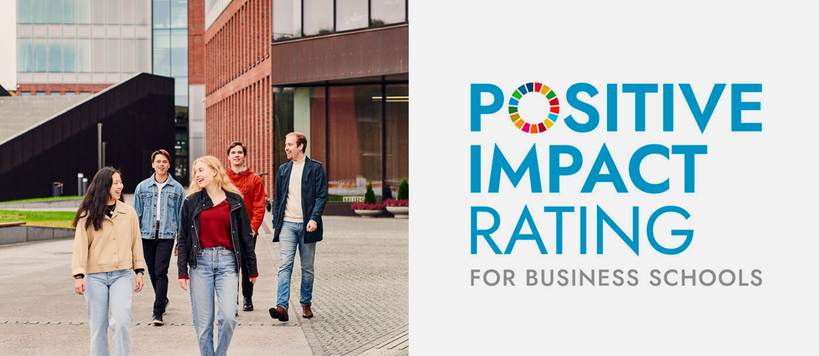 Students outside and Positive Impact Rating logo