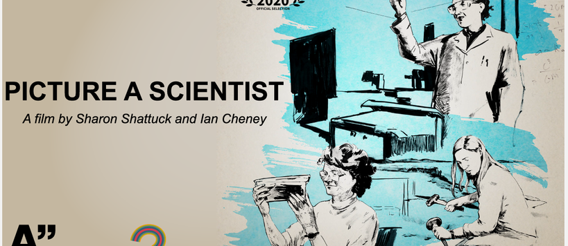 A graphic showing three female researchers featured in the documentary PICTURE A SCIENTIST