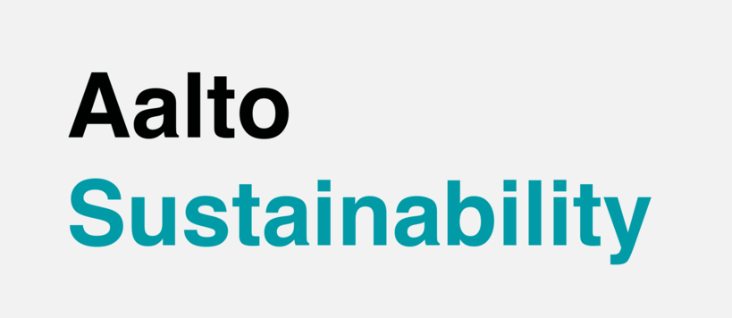 Aalto Sustainability. Black and turquoise text on transparent background.