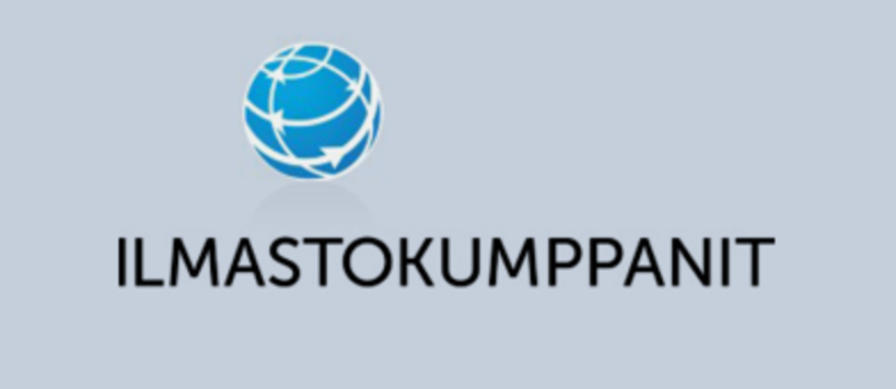Ilmastokumppanit Logo. Black text on a grey background with a blue globe icon with arrows inside of the globe.
