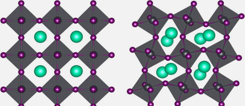 Graphic showing 2 phases of the perovskite material CsPbI3