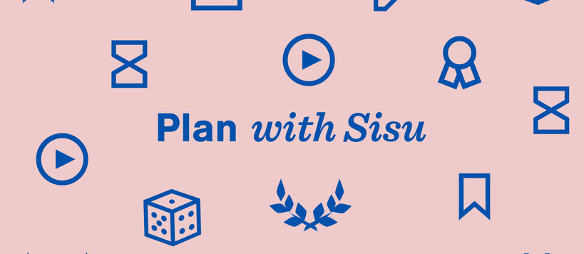 Aalto University, Plan with SIsu -text with icons on pink background year 2021