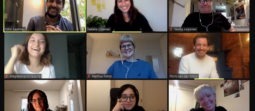 Screenshot from a Zoom call with nine participants
