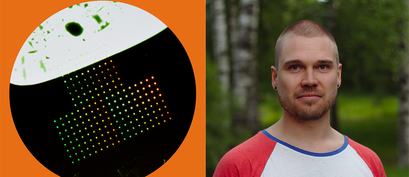 Graphic with photo showing Physics graduate Aaro Väkeväinen and a nanoparticle array