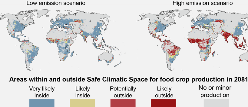 Areas within and outside Safe Climate Space for food crop production in 2081-2100