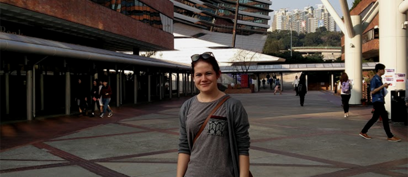 Ida Sten on the campus of Polytechnic University in Hong Kong