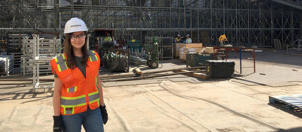 Sara Troberg at the Moynihan Station jobsite in New York