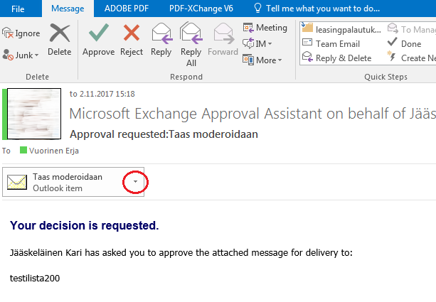 Exchange mailing lists - moderating messages | Aalto University