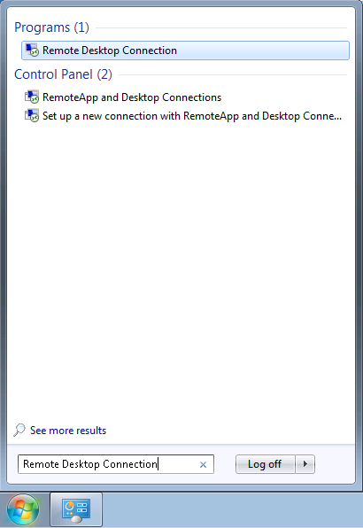 Taking a remote connection in use on a Windows research