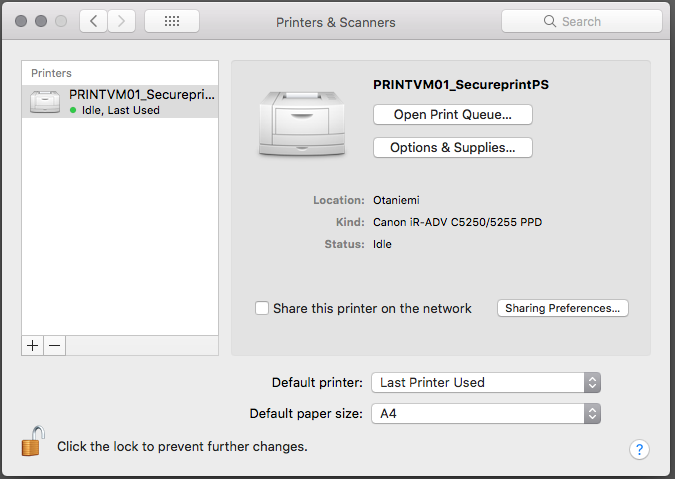 Printing with Canon multi-function devices (Mac and SecurePrint)