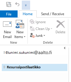 Resource mailbox in outlook6